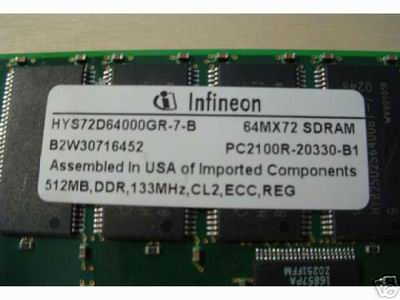 INFINEON 512MB 512 PC2100 DDR ECC REGISTERED MEMORY RAM